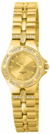 Women's Wildflower Gold Dial Gold Tone Stainless Steel Band Quartz Watch