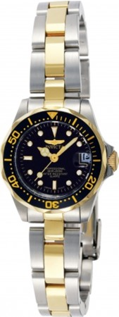 Women's Pro Diver Black Dial Gold Tone, Stainless Steel Stainless Steel Band Quartz Watch