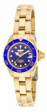 Women's Pro Diver Blue Dial Gold Tone Stainless Steel Band Quartz Watch