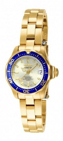 Women's Pro Diver Gold Dial Gold Stainless Steel Band Quartz Watch