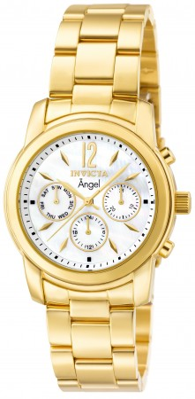 Women's Angel Mother Of Pearl Dial Gold Stainless Steel Band Quartz Watch