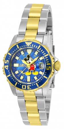 Women's Disney Mickey Mouse Blue Dial Stainless Steel Stainless Steel Band Quartz Watch