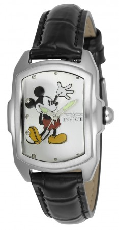 Women's Disney Mickey Mouse Silver Dial Black Leather Band Quartz Watch
