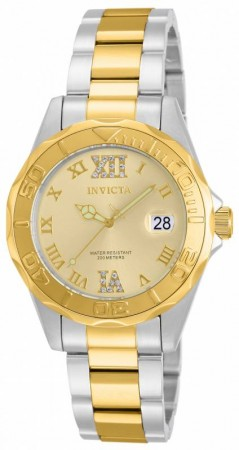 Women's Pro Diver Gold Dial Gold Tone, Stainless Steel Stainless Steel Band Quartz Watch