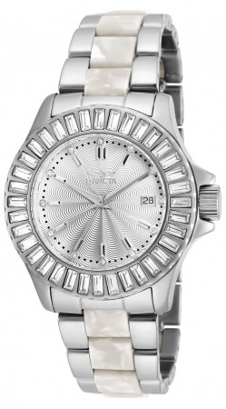 Women's Angel Silver Dial Stainless Steel/White Inserts Stainless Steel Band Quartz Watch