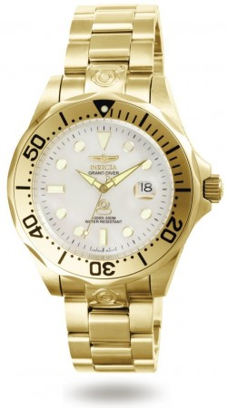 Men's Pro Diver White Dial Gold Stainless Steel Band Automatic Watch