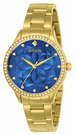 Women's Wildflower Blue Dial Gold Stainless Steel Band Quartz Watch