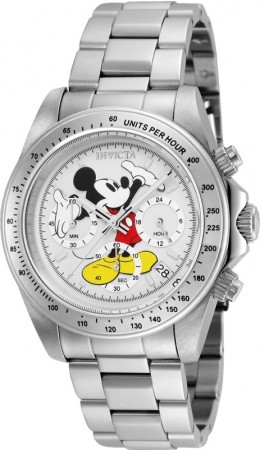 Men's Disney Mickey Mouse White Dial Stainless Steel Stainless Steel Band Quartz Watch