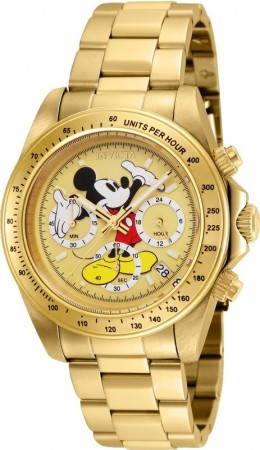 Men's Disney Mickey Mouse Gold Dial Gold Stainless Steel Band Quartz Watch