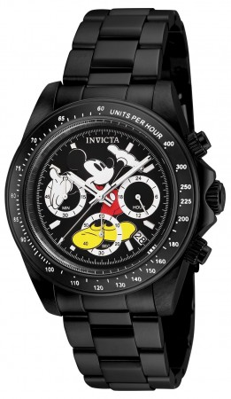 Men's Disney Mickey Mouse Black Dial Black Stainless Steel Band Quartz Watch