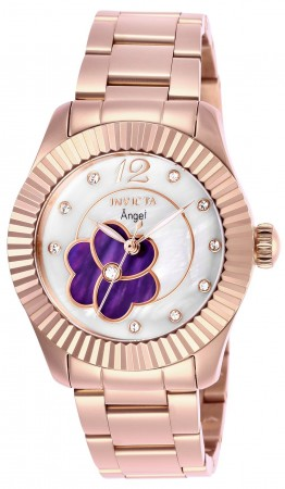 Women's Angel Purple Dial Rose Gold Stainless Steel Band Quartz Watch