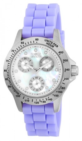 Women's Speedway White Dial Light Purple Stainless Steel Band Japan Movement Watch