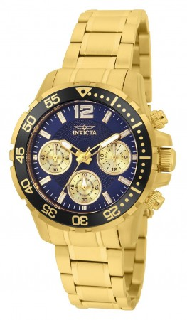 Women's Pro Diver Blue Dial Gold Stainless Steel Band Quartz Watch