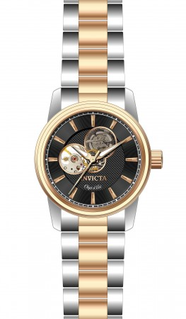 Men's Objet D Art Black Dial Rose Gold/Black Stainless Steel Band Automatic Watch