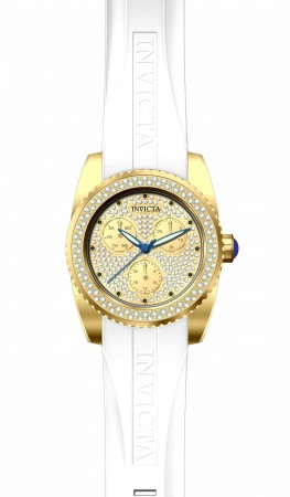 Women's Angel Gold Dial White Silicon Band Quartz Watch