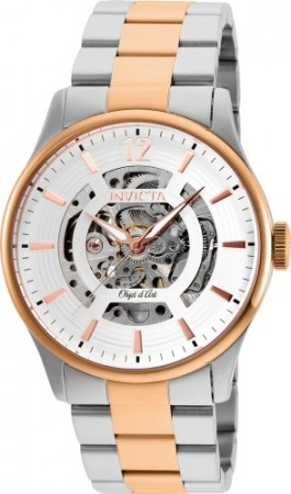 Men's Objet D Art White Dial Rose Gold Stainless Steel Band Automatic Watch