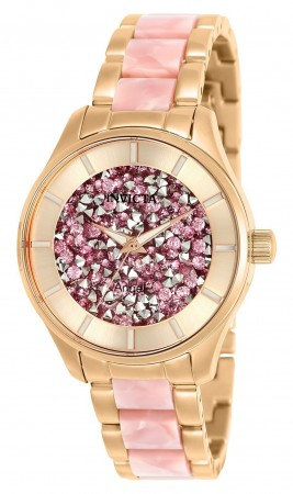 Women's Angel Pink Dial Rose Gold Stainless Steel Band Quartz Watch