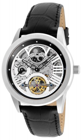 Men's Objet D Art Silver Dial Black Leather Band Automatic Watch