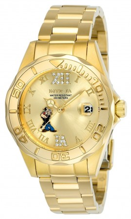 Women's Character Popeye Gold Dial Gold Stainless Steel Band Quartz Watch