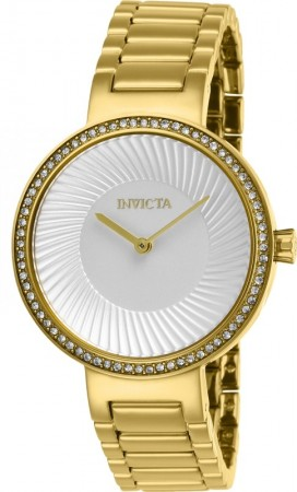 Women's Specialty Silver Dial Gold Stainless Steel Band Quartz Watch