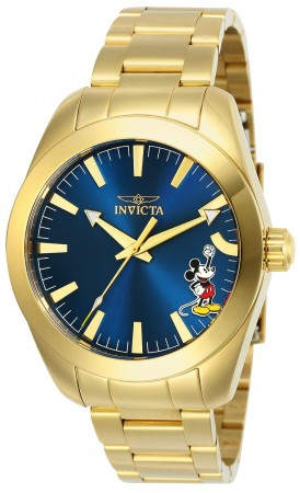 Men's Disney Mickey Mouse Blue Dial Gold Stainless Steel Band Quartz Watch