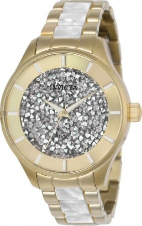 Women's Angel White Dial Gold Stainless Steel Band Quartz Watch