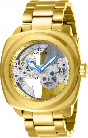 Men's Aviator Silver Dial Gold Stainless Steel Band Automatic Watch