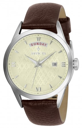 Women's Vintage Champagne Dial Brown Leather Band Quartz Watch