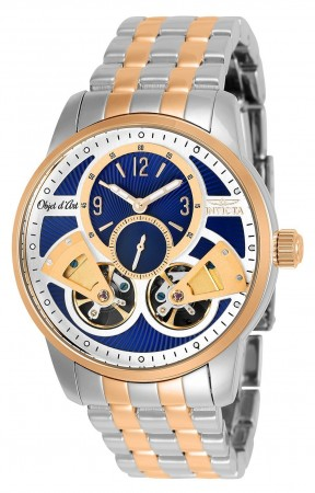 Men's Objet D Art Blue Dial Rose Gold/Stainless Steel Stainless Steel Band Automatic Watch