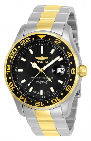 Men's Pro Diver Black Dial Gold/Stainless Steel Stainless Steel Band Quartz Watch