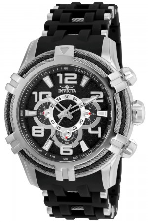 Men's Bolt Black Dial Black/Stainless Steel Polyurethane/Stainless Steel Band Quartz Watch