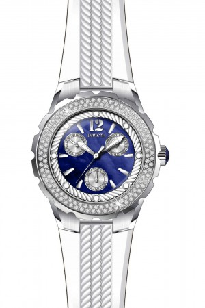 Women's Angel Blue Dial White Band Quartz Watch