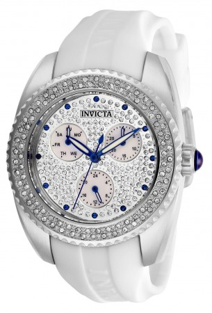 Women's Angel Mother Of Pearl Dial White Silicon Band Quartz Watch