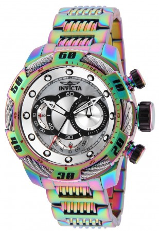 Men's Speedway Platinum Dial Rainbow Stainless Steel Band Quartz Watch