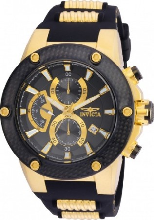 Men's Speedway Black Dial Black/Gold Polyurethane/Stainless Steel Band Quartz Watch