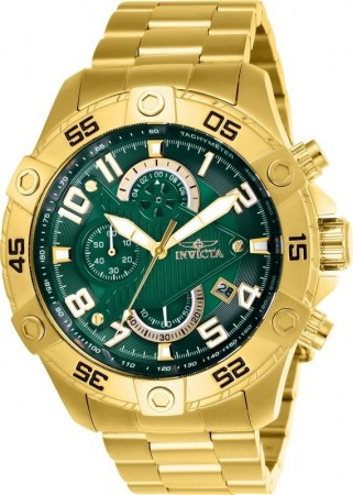 Men's S1 Rally Green Dial Gold Stainless Steel Band Quartz Watch
