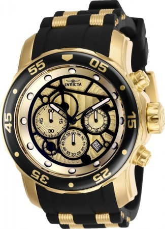 Men's Pro Diver Scuba Gold Dial Black/Gold Inserts Polyurethane/Stainless Steel Band Quartz Watch