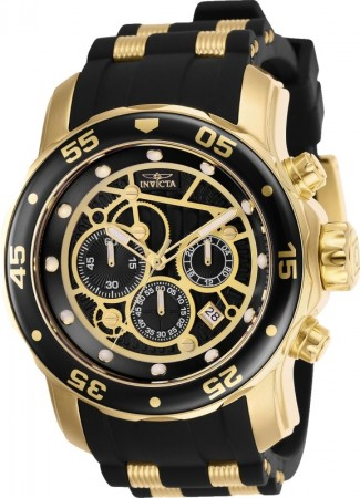 Men's Pro Diver Scuba Black Dial Black/Gold Inserts Polyurethane/Stainless Steel Band Quartz Watch