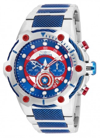 Men's Marvel Captain America Blue Dial Blue/Stainless Steel Stainless Steel Band Quartz Watch