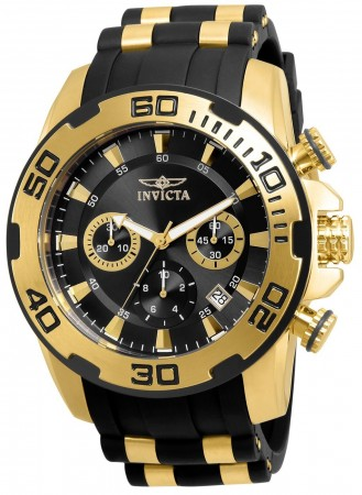 Men's Pro Diver Scuba Black Dial Black/Gold Polyurethane/Stainless Steel Band Quartz Watch