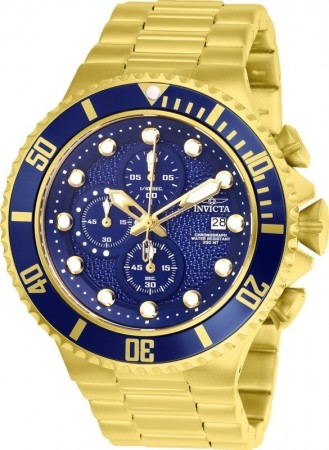 Men's Pro Diver Blue Dial Gold Stainless Steel Band Quartz Watch
