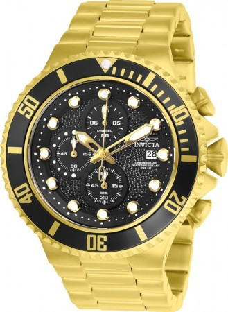 Men's Pro Diver Black Dial Gold Stainless Steel Band Quartz Watch
