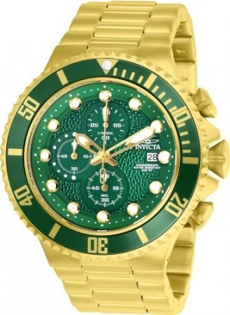 Men's Pro Diver Green Dial Gold Stainless Steel Band Quartz Watch