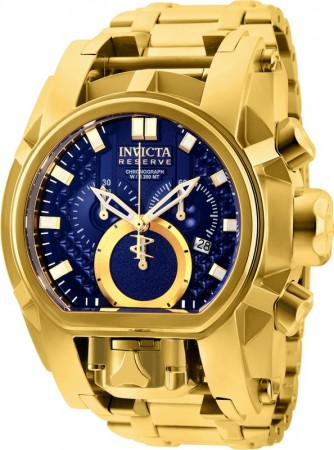 Men's Reserve Bolt Zeus Blue Dial Gold Stainless Steel Band Quartz Watch