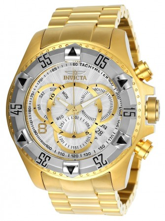 Men's Excursion Silver Dial Gold Stainless Steel Band Quartz Watch