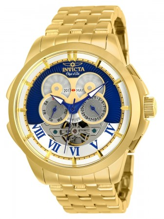 Men's Objet D Art Silver Dial Gold Stainless Steel Band Automatic Watch