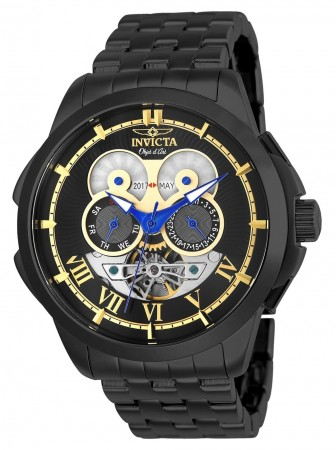 Men's Objet D Art Black Dial Black Stainless Steel Band Automatic Watch