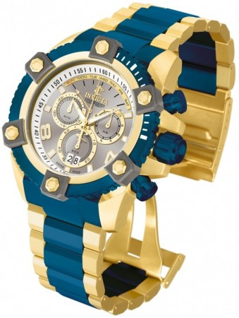 Men's Reserve Arsenal Silver Dial Gold/Blue Inserts Stainless Steel Band Quartz Watch