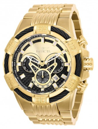 Men's Bolt Gold Dial Gold Stainless Steel Band Quartz Watch