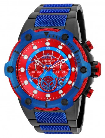 Men's Marvel Spiderman Red Dial Black/Blue Stainless Steel Band Quartz Watch